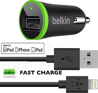 Fast Charge Belkin Car Charger + Belkin USB Cable for iPhone 5S 5 5C 6 iPad iPod