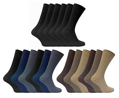 6 Pack Mens Thin Soft 100% Cotton Black or Brown Ribbed Crew Dress Socks 7-12 US