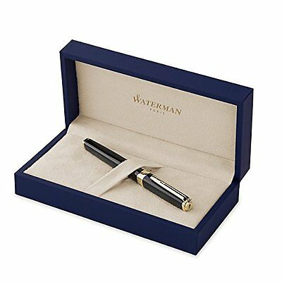 Waterman Exception Rollerball Pen, Slim Black with Gold Trim (S0636990)