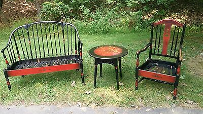 Stickley Quaint Matching Love Seat Chair And Round Table Antique Vintage