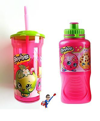 Official Shopkins | Sports Bottle And Cup With Straw Pack | School | Pink | Uk