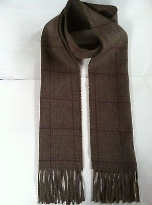 NWT Mens Polo Ralph Lauren Brown Reversible Wool Blend Plaid Pony Scarf Italy