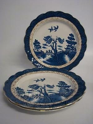 "Booths Real Old Willow A 8025  3 X 10.5"" Dinner Plates"