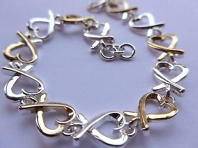Sterling Silver 925 Gorgeous Heart Bracelet Silver & Gold Plated & Free Gift Box