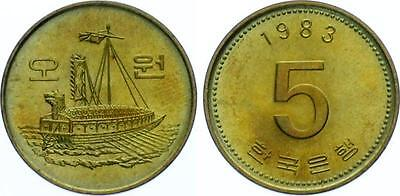 COIN Korea 5 Won 1983 KM#32 Ship UNC 6279-39