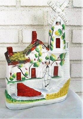 Colorful Wonderful Antique Staffordshire  Windmill with People Large Figure