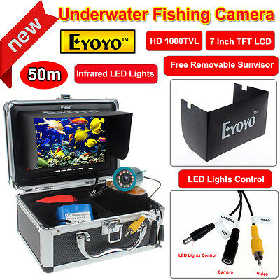 "50m Infrared HD 1000TVL Fish Finder Underwater Fishing Video Camera 7"" Monitor"