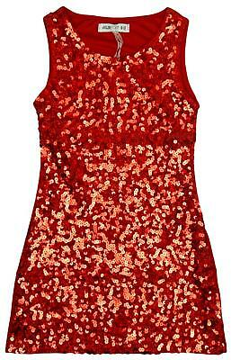 Girls Sequin Front Sleeveless Shimmer Sparkle Party Fashion Dress 3 to 12 Years