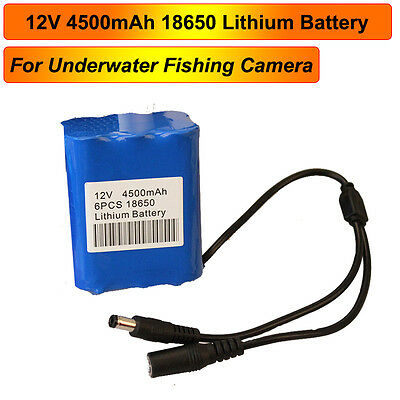 18650 12V 4500mAh Battery Pack For 15/30/50M Fish Finder Underwater Camera