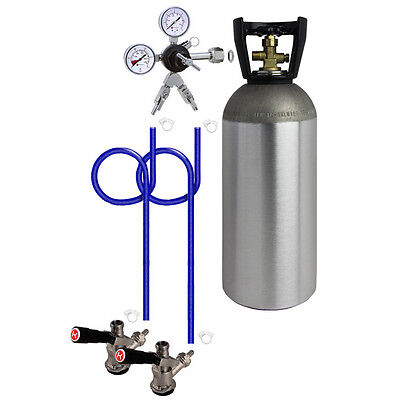 Kegco 2 Keg Direct Draw Kit for Kegerators and Jockey Boxes with 10 lb. CO2 Tank