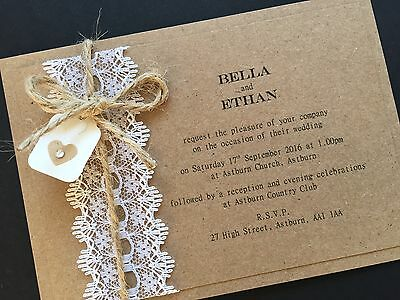 50 Personalised Handmade Vintage Lace Kraft Wedding Invitations Wedding Cards