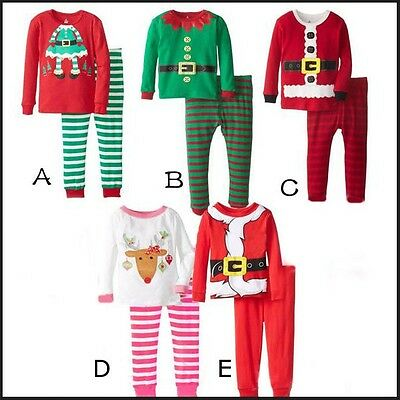 Baby Kids Boys Girls Christmas Pyjama Set PJ's Nightwear Santa Elf 1 2 3 4 5 6yr