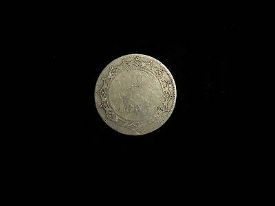 Very Old 1865 Newfoundland Canada Queen Victoria 20 Cent Sterling Silver Coin