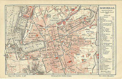 1888 MARSEILLE Frankreich Original alter Stadtplan Karte Old City Map Litho