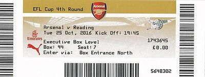* USED MATCH TICKET -  ARSENAL v READING (LEAGUE CUP - 25th October 2016) *