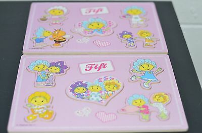 2x Fifi and the Flowertots Wooden Peg Board Puzzles - Pre School Toddler Jigsaw
