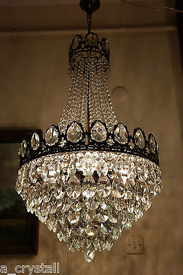 Antique Vintage Large French Basket style Crystal Chandelier Lamp 1940's 18,5 in