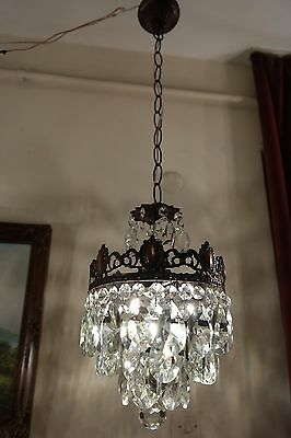 Antique Vİntage Medium French Basket style Crystal Chandelier lamp  1940's 9 in
