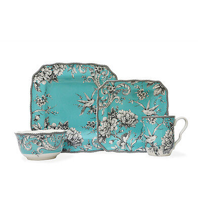 Dinnerware 16 Piece Set Turquoise Floral Bird Dining Porcelain Plates Bowls New
