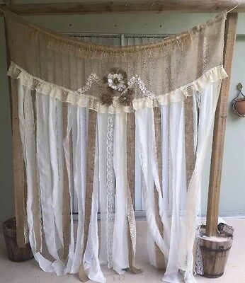RUSTIC SHABBI BURLAP. GARLAND WEDDING DECORATIONS. 62 Inches By 72 Long