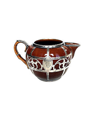 STERLING Silver Monogram 'B' Overlay Brown Porcelain Creamer 1848