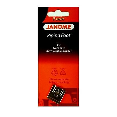 Janome 9mm Piping Foot - Perfect for Piping Cording String Taping NEW Snap On S5