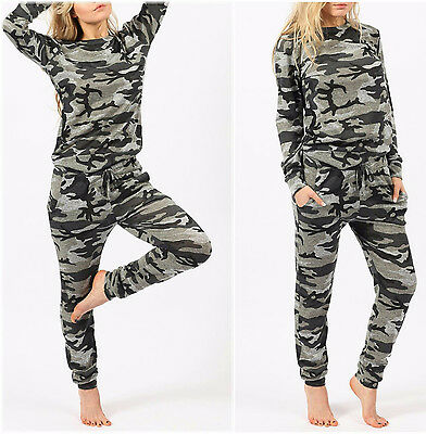 Women Ladies Camouflage Camo Top And Bottom Lounge Set Tracksuit Plus Size 8/26