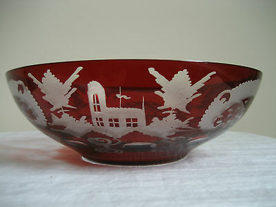 Vintage Bohemian Ruby Red Cut To Clear Deer Stag Black Forest Egermann Bowl