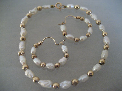 Vintage Baroque Pearl And 14 K Gold Bead  Bracelet With 10 K Gold Bead Earrings