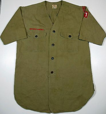 Early Vintage Sweet - Orr Collarless Boys Scouts Shirt W/ Stratford 71 Patches.