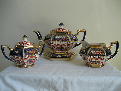 Antique Victorian Imari Welsh Gaudy Floral & Gold Gilt Tea Set Made In England