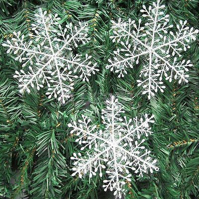 30Pcs Classic White Snowflake Ornaments Christmas Holiday Party Home Decor  AA