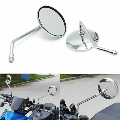 "Universal 4"" Round Long Stem Motorcycle Mirrors 8mm Screws Chrome Silver Color"