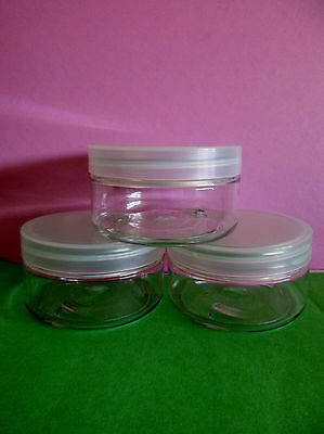 Bulk 10x Clear PET Plastic Cosmetic Jars 100g Clear Lids Aromatherapy FREE P&H