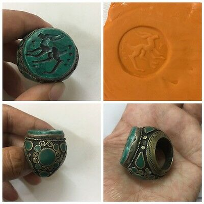 Men Engraved Ring Malachite Stone Islam Afghan Antique Persian Deer Intaglio 7.5