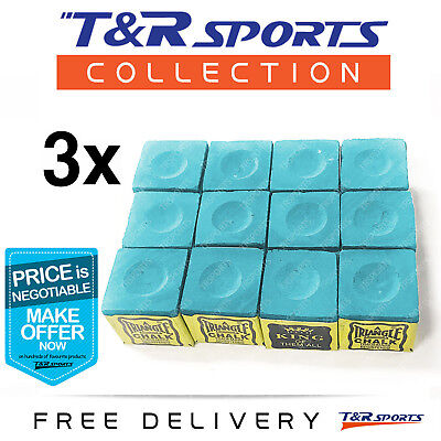 Green Triangle 36x Billiard Snooker Pool Chalk Set Free Delivery 0