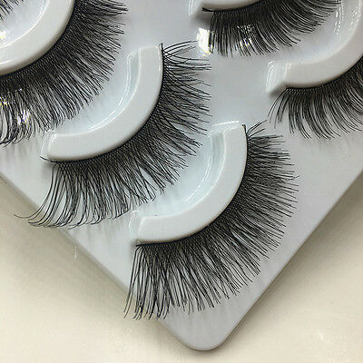 Handmade  5 Pairs Makeup Cross Thick False Eyelashes Eye Lashes Soft Nautral