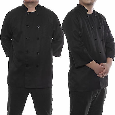 UNISEX Black Chefs Jacket Coat Uniforms Chef Trousers Pants Clothing Workwear AU