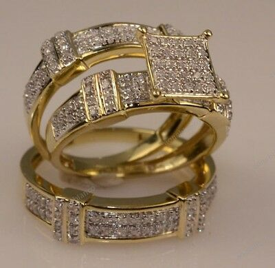 Diamond Trio Set 10K Yellow Gold Matching His & Her Engagement Ring Wedding Band