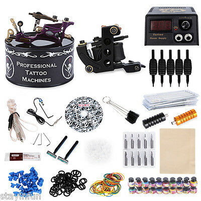 Complete Tattoo Kit 2Rotary Motor Liner Gun 20 Colors Inks Power Supply System