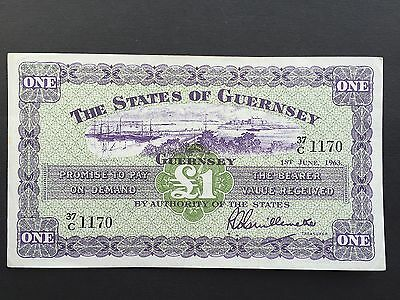 Guernsey 1 Pound P43b Signed Guillemette Dated 1st June 1963 EF