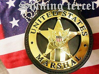 Shine Gold Five-pointed star 1789 U.S Marshal Badge with pin back and Holder