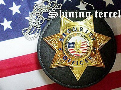 Shine Gold Seven pointed star U.S Security Officer Badge with pin back & Holder
