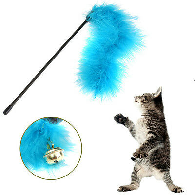 Pet Cat Turkey Feather Teaser Cat Toy Teaser With Bell