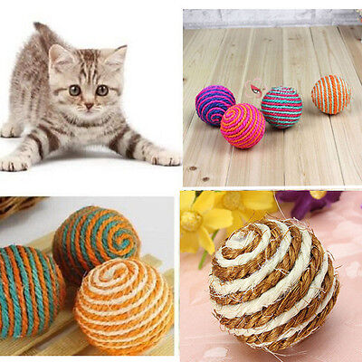 Pet Cat Kitten Funny Toy Teaser Playing Rattling Sound Sisal Ball