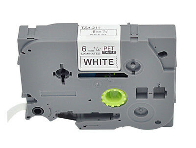 TZ 211 TZe-211 Compatible Brother Label Tape Black on White P-Touch ribbon  6mm