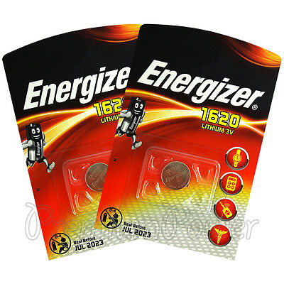 2 x Energizer Lithium CR1620 batteries 3V Coin cell DL1620 BR1620 KRC EXP:2023