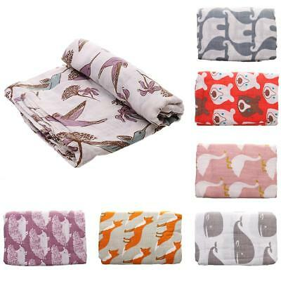 Baby Organic Cotton Muslin Blankets Kids Swaddle Newborn Infant Wrap Blanket