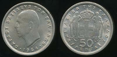 Greece, Kingdom, Paul I, 1964 50 Lepta - Uncirculated
