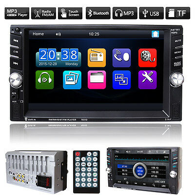 Car Double 2DIN FM Radio MP3 Player Touchscreen Bluetooth Head Unit USB/TF/AUX